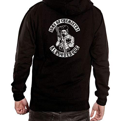 Breaking Bad Sons of Chemistry Biker Anarchy Zipped Hoodie Pullover Hooded Jacket Black (Sons Anarchy Breaking Of Bad)