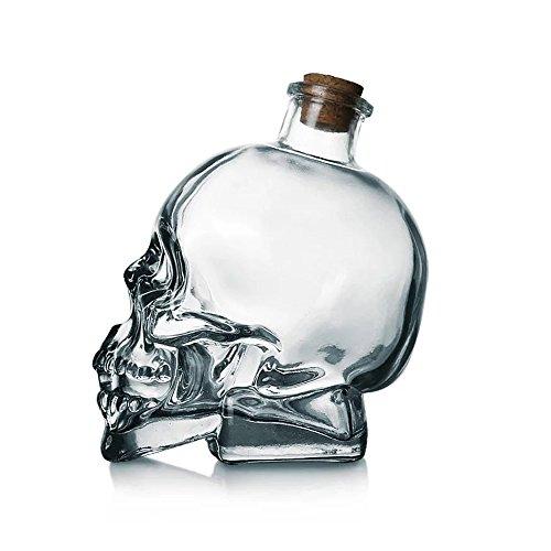 (3D Skull Lead-free Glass Drink Bottle Vodka Glass Bottle With Cork Stopper)