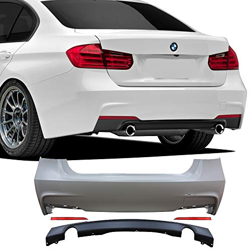 Rear Bumper Cover Fits 2012-2018 BMW F30 | 3 Series M-Tech M Sport Rear Bumper Conversion Diffuser Single Muffler Twin Outlet by IKON MOTORSPORTS | 2013 2014 2015 2016 2017 ()