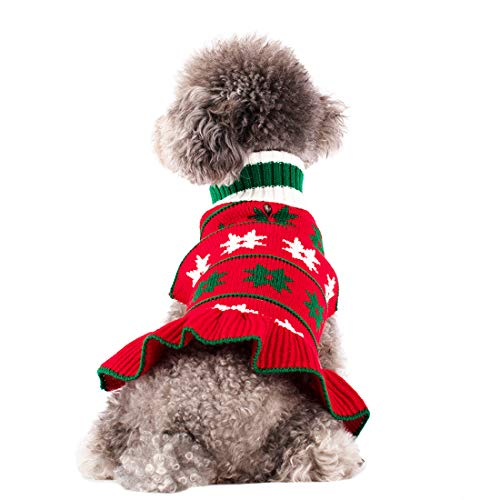 kyeese Dog Sweaters with Leash Hole Turtleneck Dog Knitting Sweater Pullover in Snowflake Pattern