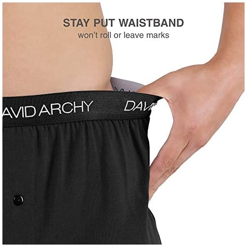 David Archy Mens 3 Pack Cotton Underwear Ultra Soft Comfy Boxer Shorts with Fly