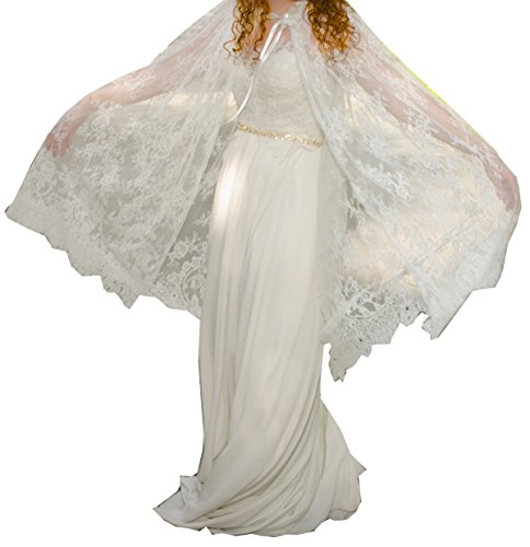YuRong Long Bridal Shawls Wrap Lace Applique Scarf Capes Lace Cover Up C04 (Ivory) by YuRong