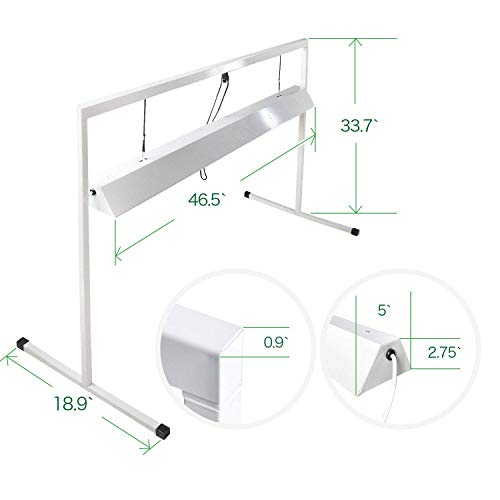 iPower 54WX2 4 Feet 2-Bulb T5 Fluorescent Grow Light Stand Rack for Seed Starting Plant Growing, 6400K,White