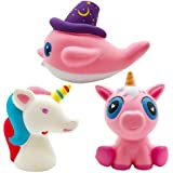 Viccent 3 Packs Jumbo Squishies Horse,Hat Dolphin Whale,Pink Unicorn Kawaii Slow Rising Cream Scented Squeeze Toys Doll Stress Relief for Kids and Adults