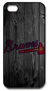 LZHCASE Personalized Protective Case for iPhone 5 - MLB Atlanta Braves Logo in Wood Background