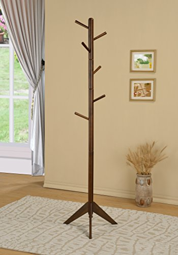 Walnut Finish Coat Rack Hall Tree Purse Jacket