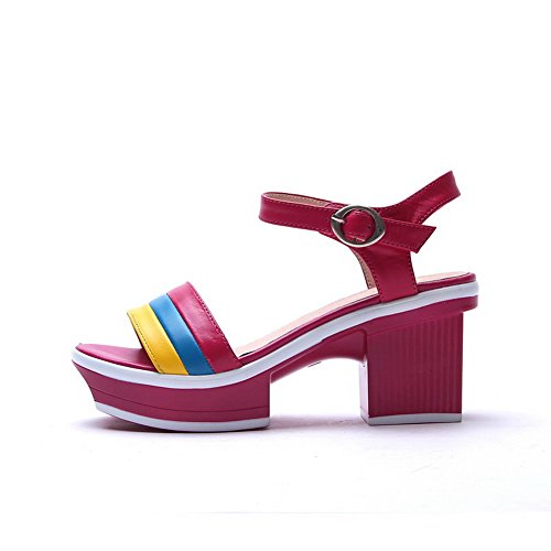 WeiPoot Women Open Toe High Heels Cow Leather Soft Material 7 Assorted Colors Sandals, Red, 7 Material B(M) US B00KYEOGU2 Parent 569886