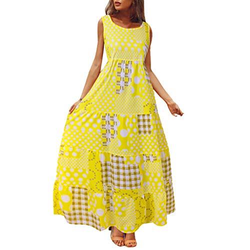 Sunhusing Ladies Summer Holiday Bohemian Ethnic Style Polka Wavy Plaid Stitching Print Retro Long Maxi Dress Yellow ()