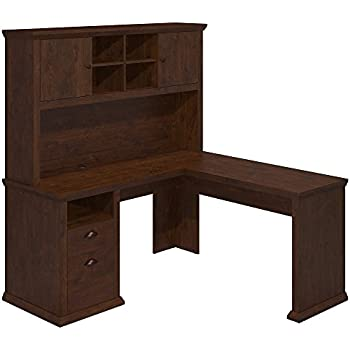 Amazon Com Cabot L Shaped Desk With Hutch And 6 Cube