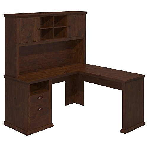 Bush Furniture Yorktown L Shaped Desk with Hutch in Antique Cherry Collection Desk Hutch