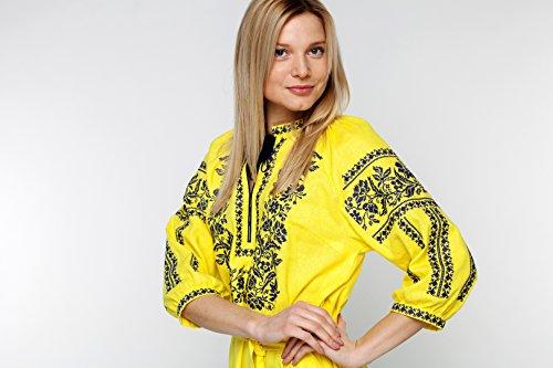 Vyshyvanka rojo Brodee 2kolyory un vestido amarillo ucraniano Vestido bordado Rusiano qxRUwY