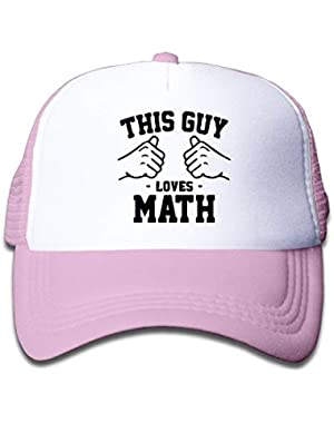 This Guy Loves Math-1 On Kids Trucker Hat, Youth Toddler Mesh Hats Baseball Cap