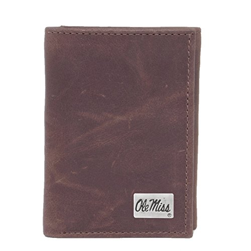 Mississippi Rebels Tri Fold - Eagles Wings NCAA Mississippi Old Miss Rebels Men's Tri Fold Wallet, One Size, Brown