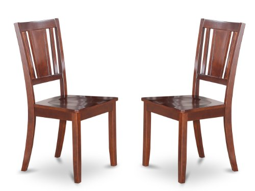 (East West Furniture DUC-MAH-W Dining Chair Set with Wood Seat, Mahogany Finish, Set of 2)