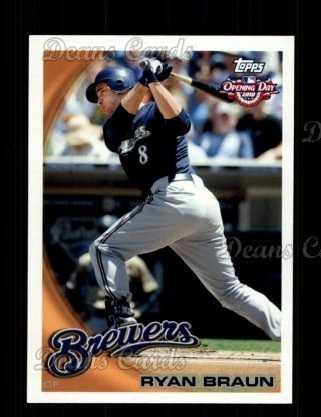 Ryan Brewers Braun Milwaukee (2010 Topps Opening Day # 184 Ryan Braun Milwaukee Brewers (Baseball Card) Dean's Cards 8 - NM/MT Brewers)