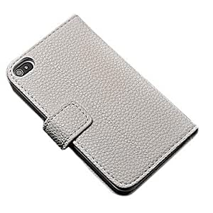 LCJ Luxury Wallet Pu Leather Full Body Case for Iphone 4/4S with Stand and 2 Card Holders , White
