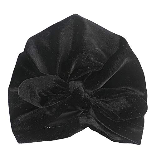 Price comparison product image SUKEQ Newborn Baby Toddler Infant Turban Hat Cute Rabbit Ear Knot Headwrap Nursery Beanie Hospital Hat with Bow (Black)