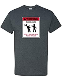 Warning Job Dad Father Work Construction Engineer Auto Mechanic Car Mens Funny Humor Pun Adult Men's Graphic Tee T-Shirt Heather Grey
