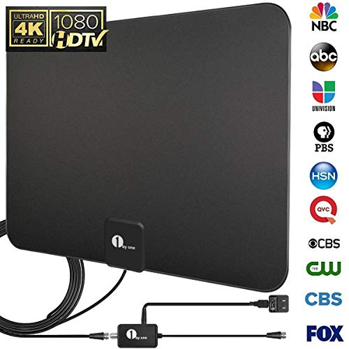 [Upgraded 2019] 1byone Digital Amplified Indoor HD TV Antenna Up to 80 Miles Range, Amplifier Signal Booster Support 4K 1080P UHF VHF Freeview HDTV Channels, 10ft Coax Cable]()