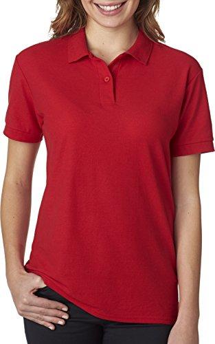 Gildan womens DryBlend 6.3 oz. Double Pique Sport Shirt(G728L)-RED-2XL Combed Cotton Pique Golf Shirt