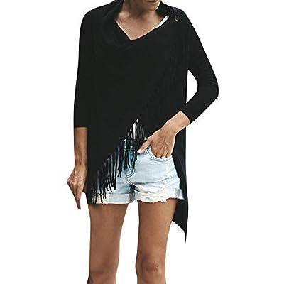 Duseedik Fashion Women Baggy Cardigan Coat Tassel Knitted Button Shawl Irregular Blouse