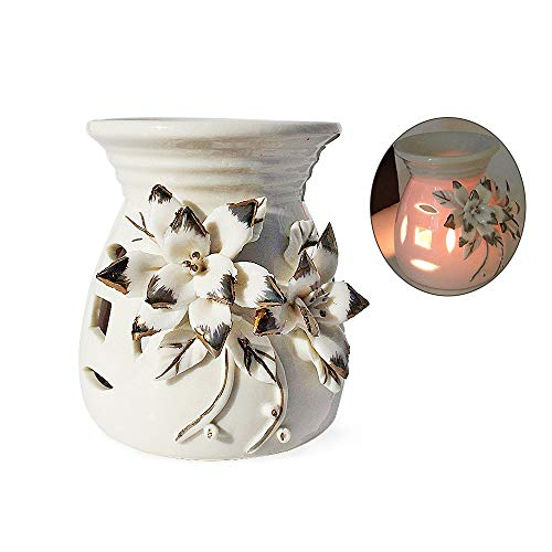 Aromatherapy Essential Oil Burner Warmer Ceramic Tea Light Holder Ivory Flower Design