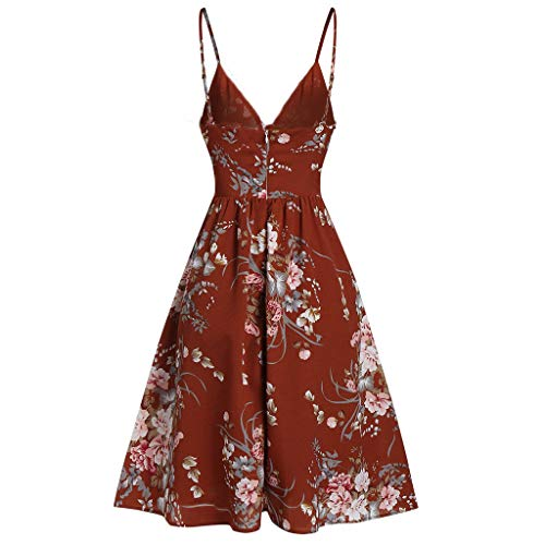 - Allywit S-3XL Fashion Women Sexy V Neck Floral Printed Camis Sleeveless Casual Party Dress Mini Dress Red