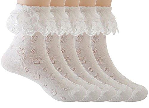 Sept.Filles Socks Girl's Socks Lace Top Anklet Socks Packs of 5 (M(3-6y), White5) ()