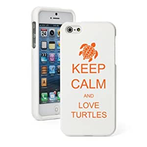 Apple iPhone 5 5S White Rubber Hard Case Snap on 2 piece Orange Keep Calm and Love Turtles