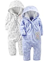 Simple Joys by Carter's Baby Girls' 2-Pack Fleece Hooded Jumpsuits, White Snowflakes/Periwinkle Polka Kitty, 24 Months