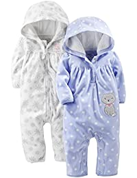 Baby Girls' 2-Pack Fleece Hooded Jumpsuits
