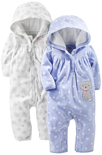 Simple Joys by Carter's Baby Girls' 2-Pack Fleece Hooded Jumpsuits, White Snowflakes/Periwinkle Polka Kitty, 3-6 Months