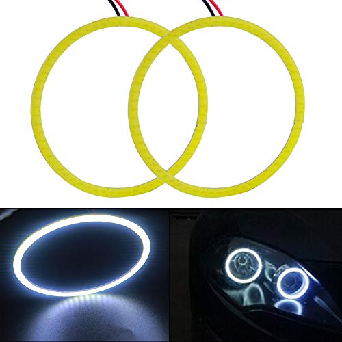 Everbright 2-Pack【 90MM 3.54″,12V White Car Angel Eye 】COB Light Halo Circle Ring Head light Lamp for BMW Benz Headlight