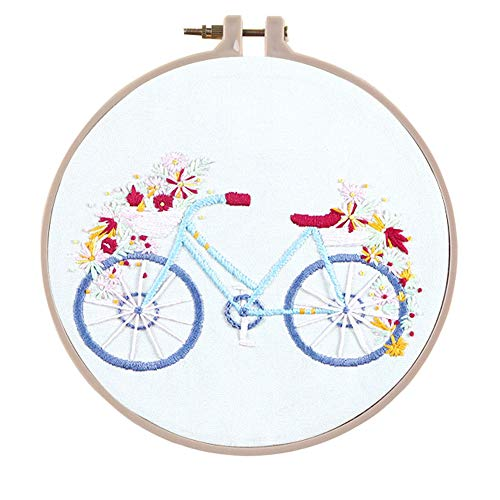 Embroidery Kit, Creative Flower Hand Embroidery Cross Stitch Starter Needlepoint Crafts Kit with Color Pattern Cloth, Embroidery Hoop, Color Threads and Tools Kit for Home Decor-C
