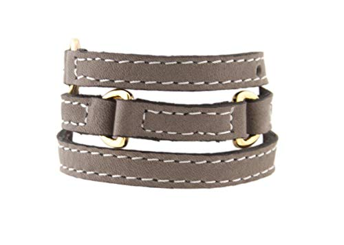 LALÉ Half Moon Woman wrap Genuine Leather Bracelet | Twists Three Times Around The Wrist | Ironwork Plated in Gold Buckle for Closure | Adjustable Size | Handmade Jewelry (Grey, 7.50) (Half Moon Buckle Belt)