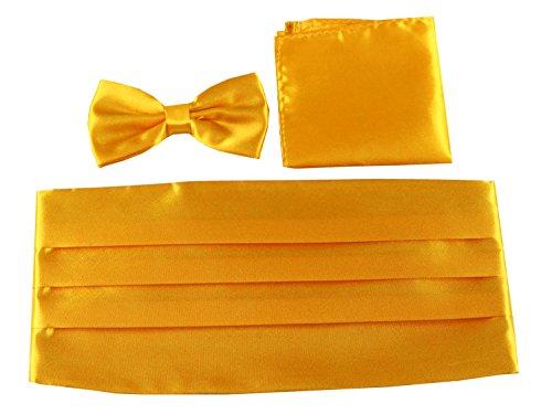 Keywin Men's Poly Satin Formal Bow Tie & Pocket Square & Cummerbund Sets Tuxedo Prom Wedding (Gold) (Gold Cummerbund)