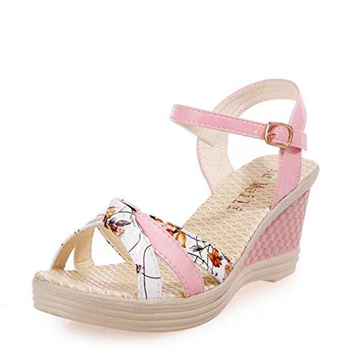 Dick Keilabsatz Sommer Damen plateaus Beach Gurtband Sandalen Heeled Casual Rosa Transer Schuhe zwtEqafz