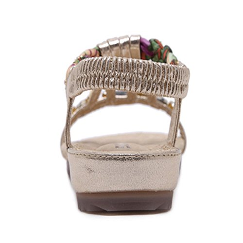 de Plage en Clips Talon Chaussures Sandales Toe Casuel Doré de Femme Perlées Style Bohème Sandales Plats Mode Fanessy Décoracté xaqFzx