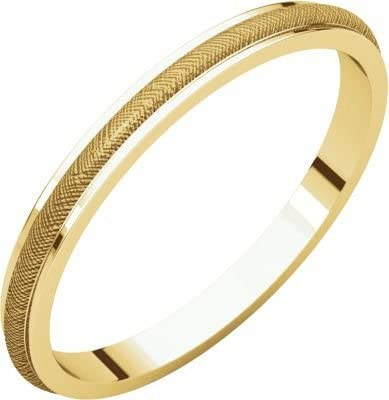 Size 13 Bonyak Jewelry 14k Yellow Gold 2 mm Half Round Edge Band