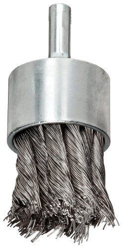 Weiler Wire End Brush, Hollow End, Round Shank, Stainless Steel 302, Partial Twist Knotted, 1-1/8