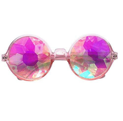 Fheaven Kaleidoscope Round Crystal Lens Dance Rave Festival Party EDM Sunglasses Glasses Toys - Dance Sunglasses