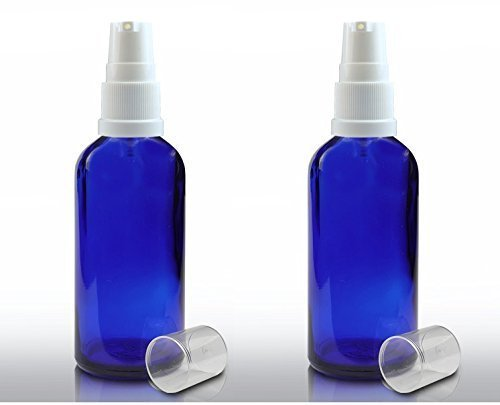 (2 x 100ml Blue Glass Aromatherapy Bottle with White Serum Pump Closure. by Avalon Craft and Cosmetic Packaging)