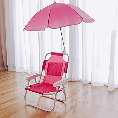 (SHARESUN Children's Folding Beach Chair, Baby Outdoor with Parasol Portable Back Beach Chair, for Camping Picnic Outing Garden Courtyard, 483828cm,Pink)