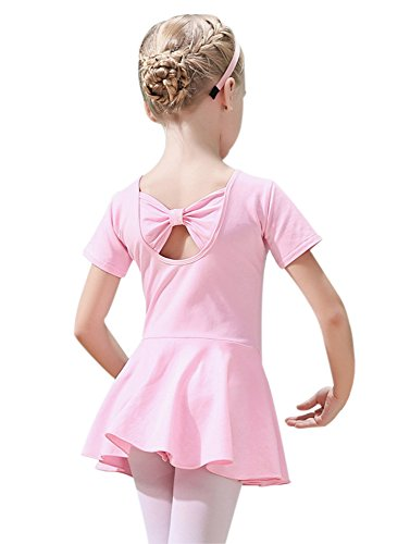 ORIDOOR Girl's Short Sleeve Skirt Leotard Back Bowknot Tutu Dress Soft Cotton Ballet Halloween Dancing Costumes (Tag 120 - Age 5-6, Pink)]()