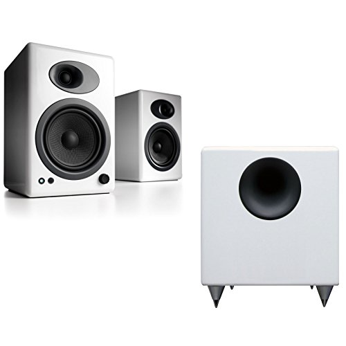 Audioengine A5+/S8 Bundle White Powered Speaker & White Subwoofer