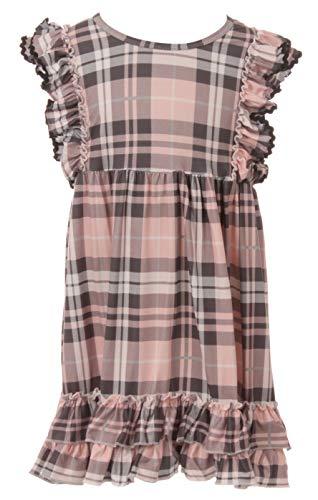 BluNight Collection Big Girl Dress Kids Plaid Lovely Ruffle Birthday Party Flower Girl Dress Pink 8 3XL (201336) -