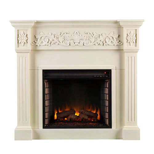 251 First Evelyn Ivory Carved Electric - Carved Electric Fireplace