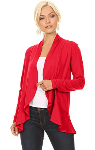 Red Cardigans for Women Open Front Red Jersey Lightweight Cardigan with Ruffle (Size Small US 0-4, Red)