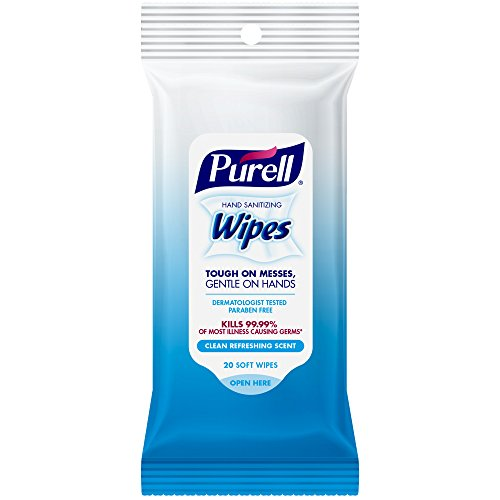 PURELL Hand and Face Sanitizing Wipes – Travel Size Hand Sanitizer Wipes, Clean Refreshing Scent, 20 Count Travel Pack (Case of 6) - 9124-09-EC