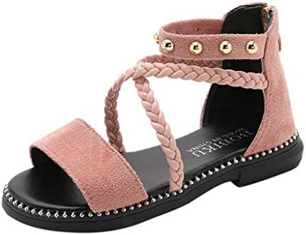 Little Girls Princess Shoes,Jchen Kids Baby Girls Cross Strap Weave Roma Zipper Princess Shoes Beach Sandals for 3-12 Y